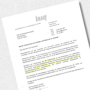 Download certificate for Statement on the panel anchor (Knauf)
